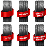 Summer tires with promo red banners Stock Image