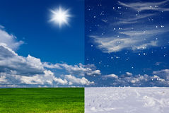 From summer to winter. Summer and winter in one photo Royalty Free Stock Image