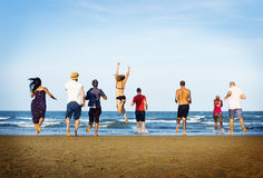 Summer Togetherness Friendship Beach Vacation Concept Stock Photography