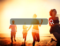 Summer Togetherness Friendship Searching Internet Concept Royalty Free Stock Photo
