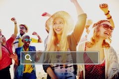 Summer Togetherness Friendship Searching Internet Concept Royalty Free Stock Photos