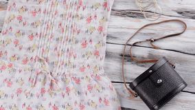 Summer top with dark bag. stock footage