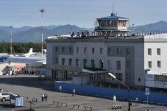 Summer top view of building airport terminal Petropavlovsk-Kamch royalty free stock photos