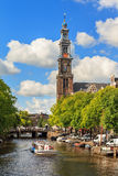 Summer tour canal Amsterdam royalty free stock photo
