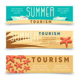 Summer tourism banner template with yacht and starfish Stock Photo