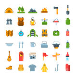 Summer tourism camping vector flat icons Royalty Free Stock Photography