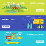 Summer Tourist Adventures Horizontal Banners Stock Photo
