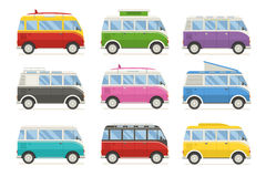 Summer Tourist Bus Colorful Vector Icons Stock Photo