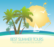 Summer tours design with tropical island and yacht Stock Images