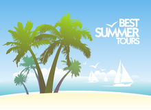 Summer tours design with with white yachts. Stock Images