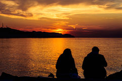 Summer Town People At Sunset Stock Image