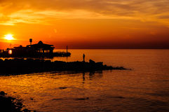 Summer Town Seaside At Sunset Royalty Free Stock Images
