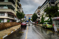 Summer Town In Turkey After Heavy Rainfall Royalty Free Stock Photos