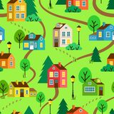 Summer town or village vector seamless pattern Royalty Free Stock Image