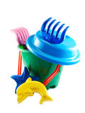 Summer toys. Closeup of a colorful summer toys over white background Royalty Free Stock Image