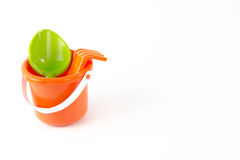 Summer toys bucket with spade isolated Royalty Free Stock Photo