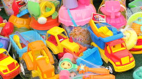 Summer toys for sale. In a store near the seaside Stock Photos