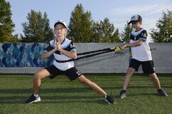 Summer training for young hockey players. Filmed in the summer of 2020 in a hockey rink in a new district of the city of Chelyabin