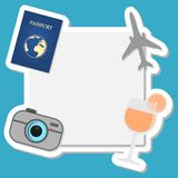 Summer and travel background. On blue Stock Photography