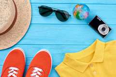 Summer travel background, essential stuff. Set of men clothing for summer trip Royalty Free Stock Photography