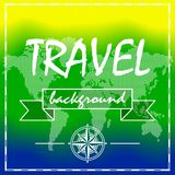 Summer Travel Background with world map. And compass rose. Vector illustration Stock Photo
