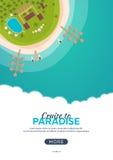 Summer travel banner. Sea travel. Summer time. Hello Summer. Cruise to paradise. Beach, sea and ship. Stock Photos