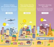 Summer travel banners in flat style. Decorative vertical templates set in flat style. Traveling in time of vacation by plane, bus royalty free illustration