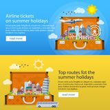 Summer travel banners in flat style. Traveling in time of vacation by plane and bus. Travel to Britain and Italy. The summer. Holiday. Open suitcase with vector illustration