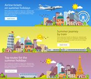 Summer travel banners in flat style. Traveling in time of vacation by plane, bus and train. Travel to Britain, Italy and France. D. Ecorative horizontal stock illustration