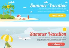 Summer travel banners. Tropic vacation background design Stock Photos