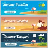 Summer travel banners. Tropic vacation background design Stock Images