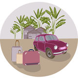 Summer travel banners. Tropical vacation on a retro car royalty free illustration