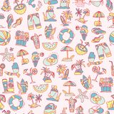 Summer, travel and beach sketch seamless pattern in black and white colors. Travelling hand draw elements with Stock Photography
