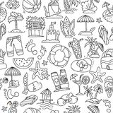 Summer, travel and beach sketch seamless pattern in black and white colors. Travelling hand draw elements with. Decoration on white background. Palm, summer Stock Image