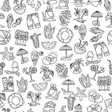 Summer, travel and beach sketch seamless pattern in black and white colors. Travelling hand draw elements with. Decoration on white background. Palm, summer Stock Photography