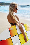 Summer Travel Beach Vacation. Happy Woman With Surfboard. Summer Stock Images
