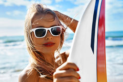 Summer Travel Beach Vacation. Happy Woman With Surfboard. Summer Royalty Free Stock Images