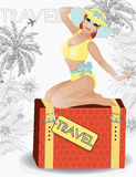 Summer travel beauty girl pinup, vector Royalty Free Stock Photo