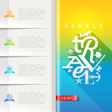 Summer travel booklet template design. Booklet template with infographic elements - summer travel greeting sign on pattern paper pages Stock Photo