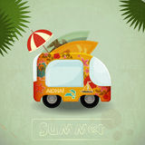 Summer Travel Bus in retro Style Stock Photography