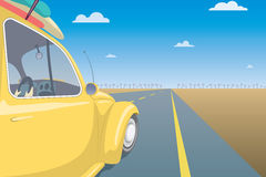Summer Travel Car Concept. Vacation Postcard Template. Vector Illustration Royalty Free Stock Image