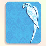 Summer travel card with intricate patterns. Vacation illustration of a parrot silhouette filled with very intricate patterns. Graphics are grouped and in several stock illustration
