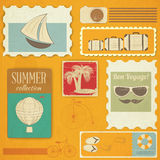 Summer Travel Card in Vintage Style Stock Photos