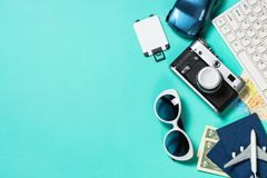 Summer travel concept on pink background top view. royalty free stock photography