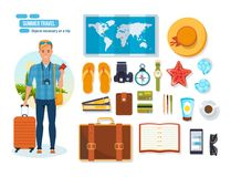 Summer travel concept. Young traveler man. Objects necessary on trip. royalty free illustration