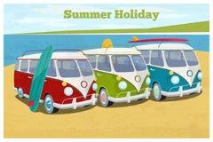 Summer travel design with camper van stock illustration