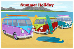 Summer travel design with surfing camper van. Car retro and vintage vehicle transportation, beach vacation, sand and coast, vector illustration vector illustration