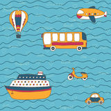 Summer travel  design. Vector hand drawn transport. Stock Photography