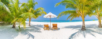Summer travel destination background panorama. Tropical beach scene. Summer travel destination. Design of summer vacation holiday concept. Perfect tranquil beach royalty free stock photography