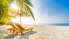 Summer Travel Destination Background. Summer Beach Scene, Sun Beds Sun Umbrella And Palm Trees Stock Image